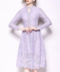 Lilac lace keyhole midi dress