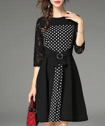 Black & polka belted dress