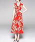 Coral leaf wide leg jumpsuit Sale - yyfs Sale
