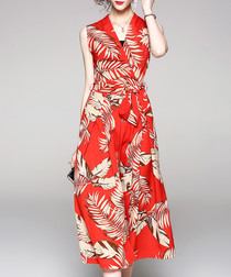 Coral leaf wide leg jumpsuit
