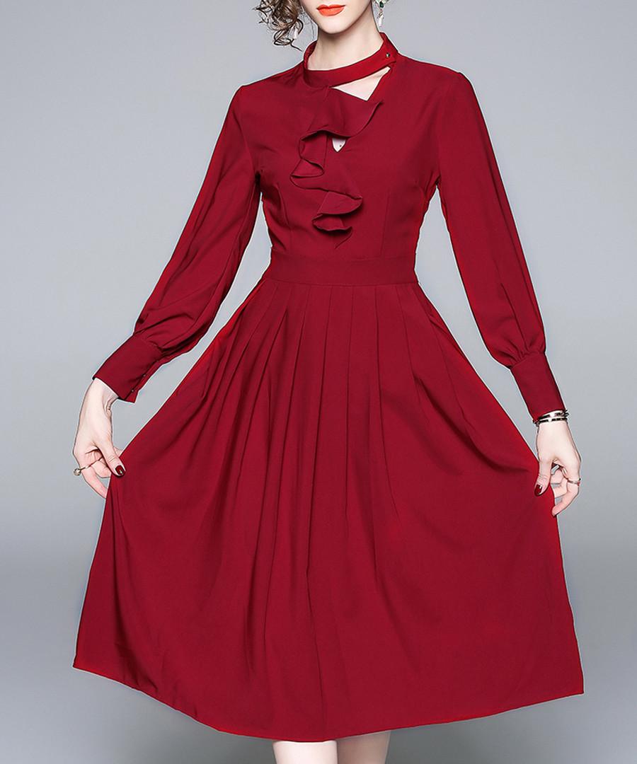 Wine long sleeve ruffle dress Sale - yyfs