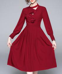 Wine long sleeve ruffle dress