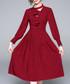 Wine long sleeve ruffle dress Sale - yyfs Sale