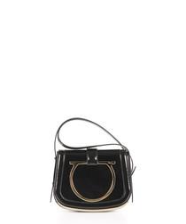 Black leather Omega shoulder bag