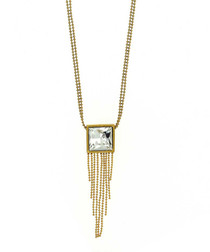 24k gold-plated crystal fringe pendant