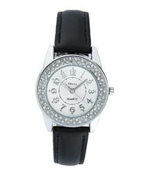 Black leather & Swarovski crystal watch
