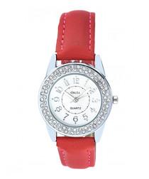 Coral leather & Swarovski crystal watch
