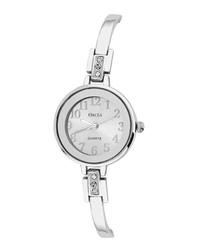 Silver-tone slim Swarovski crystal watch