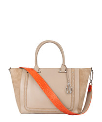 The Johansson beige leather & suede tote