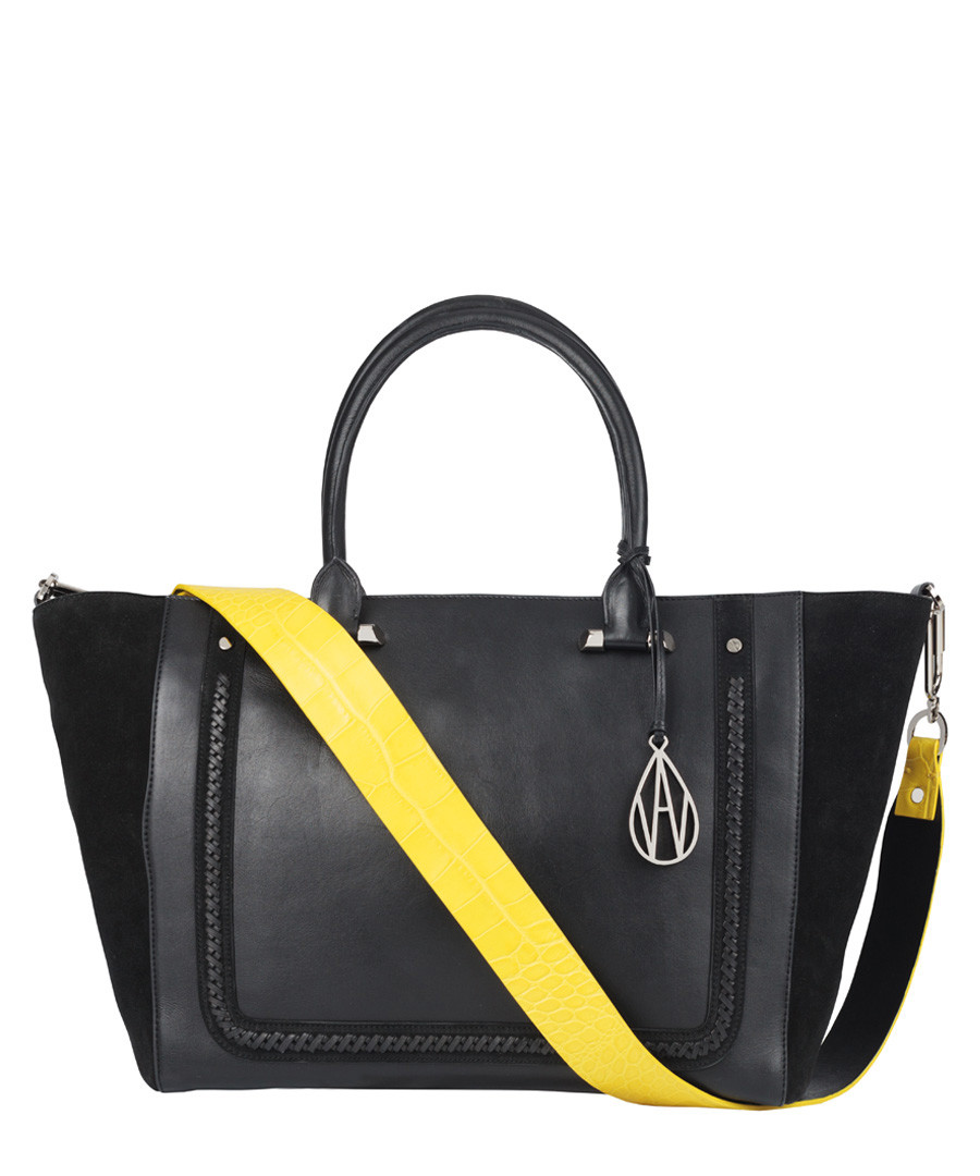 The Johansson black leather & suede tote Sale - Amanda Wakeley