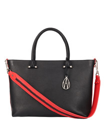The Campbell black leather tote