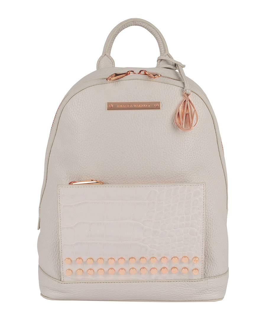 The Mini Flynn grey leather backpack Sale - Amanda Wakeley