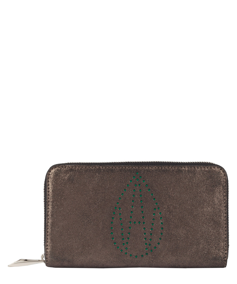 The Perforated Dylan brown suede purse Sale - Amanda Wakeley
