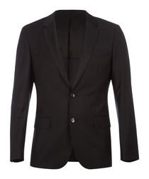 Hayes black wool blend slim blazer