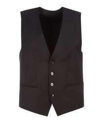 Wilson black virgin wool blend waistcoat