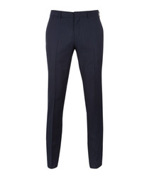 Genius blue wool blend slim trousers