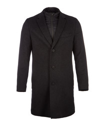 Graphite wool & cashmere greatcoat