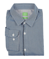 Brizzi pewter pure cotton slim shirt
