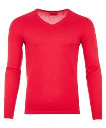 Sorinus red cotton & silk jumper