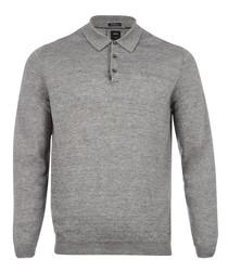 Hugh grey linen & virgin wool knit polo