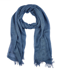 Elorio blue silk & cashmere blend scarf