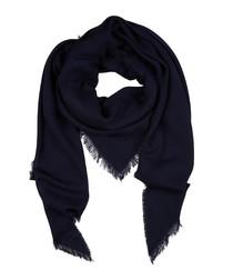 Pulmas navy cotton & linen blend scarf