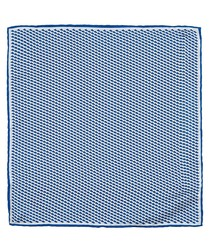 Blue geo pure silk pocket square
