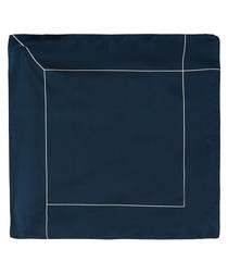 Marine grid pure silk pocket square