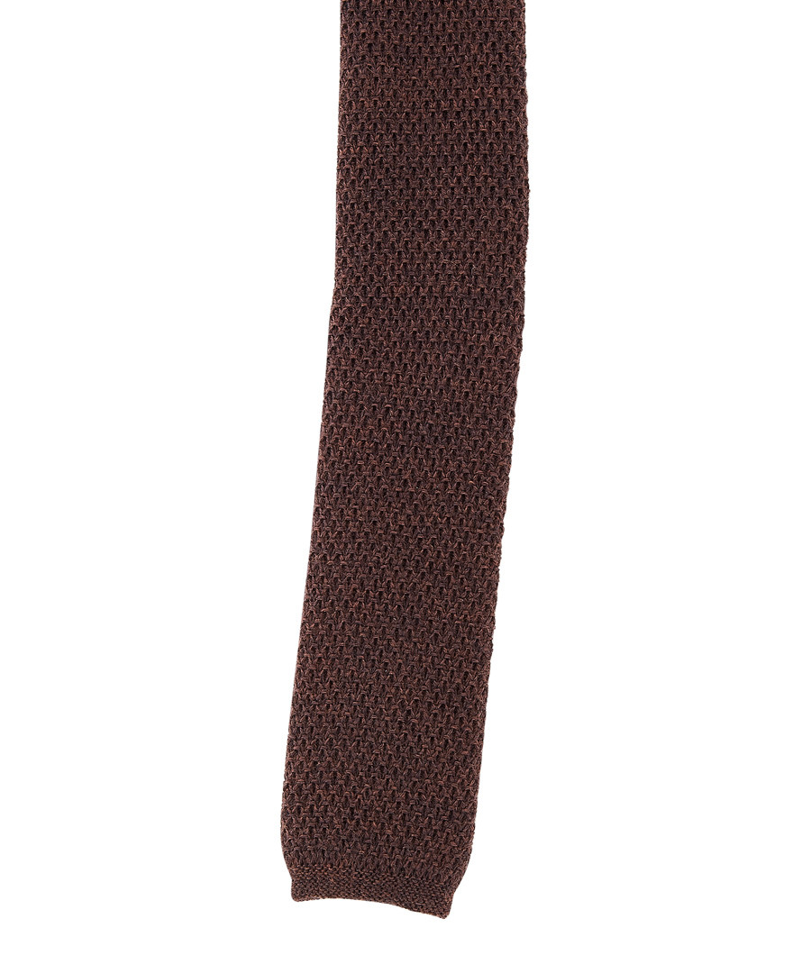 Brown pure wool knitted tie Sale - hugo boss