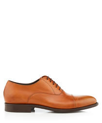 Brown leather Oxford lace-up shoes