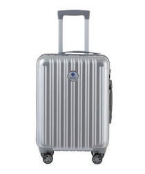 Silver-tone spinner suitcase 55cm