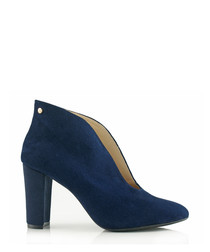 navy blue suede leather ankle boots