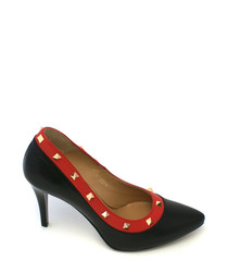 Black & red studded leather court heels