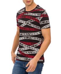 Black pure cotton tape T-shirt