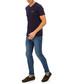 Navy pure cotton V-neck T-shirt Sale - galvanni Sale