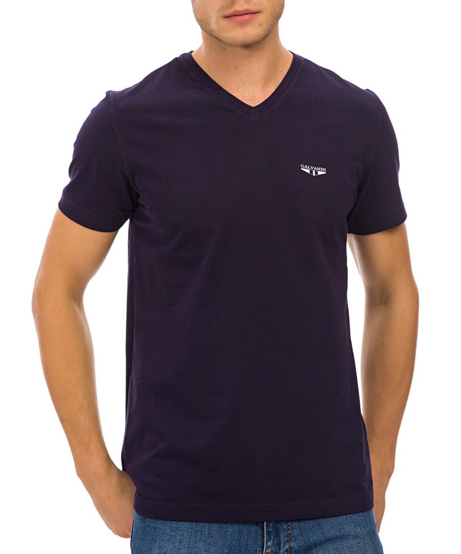 Navy pure cotton V-neck T-shirt Sale - galvanni