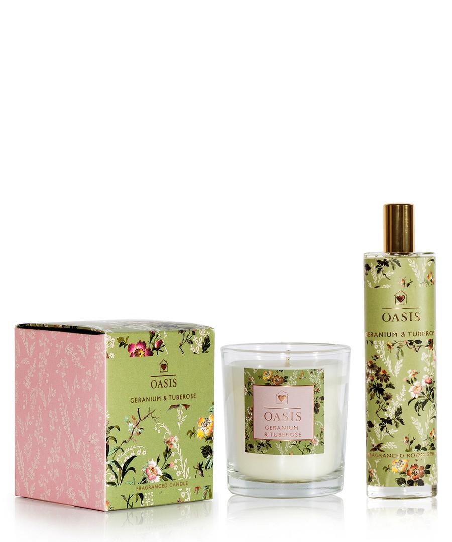 2pc Geranium & tuberose scented set Sale - oasis
