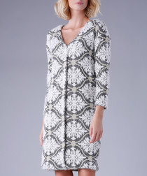 Greyscale brocade V-neck dress