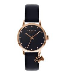 Black leather charm watch