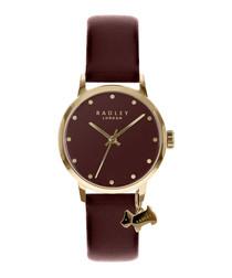 Burgundy leather charm watch