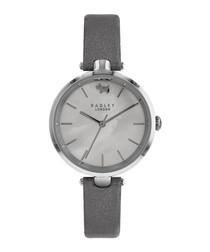 Silver-tone & metallic leather watch