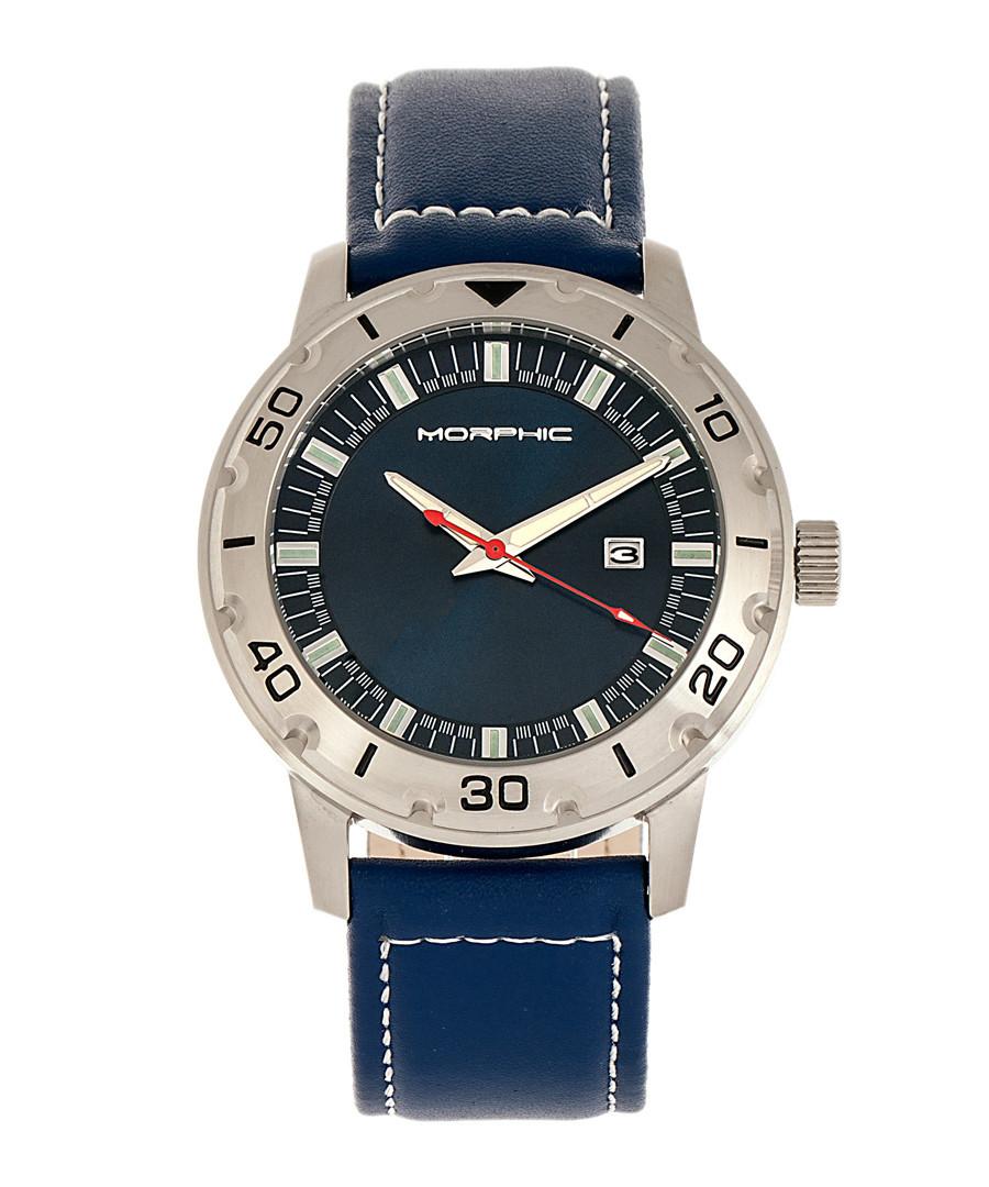 M71 steel & blue leather watch Sale - morphic