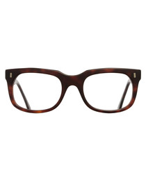 Dark Havana squared clear glasses