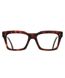 Matte Havana squared clear glasses