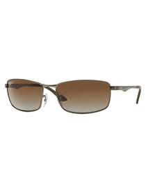 Brown metal rectangle sunglasses