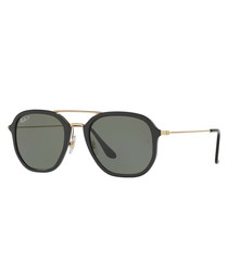 Black & green top-bar sunglasses