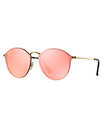 Gold-tone & salmon rounded sunglasses