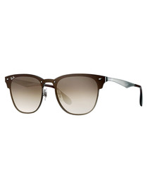 Clubmaster gunmetal & brown sunglasses