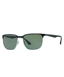 Black, silver-tone & green sunglasses