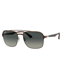 Brown & grey top-bar sunglasses